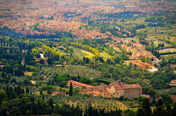 Rural landscape of fiesole in Tuscany Italy