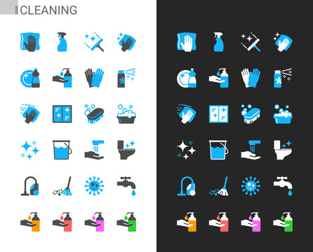 Cleaning icons light and dark theme. 48x48 Pixel perfect.