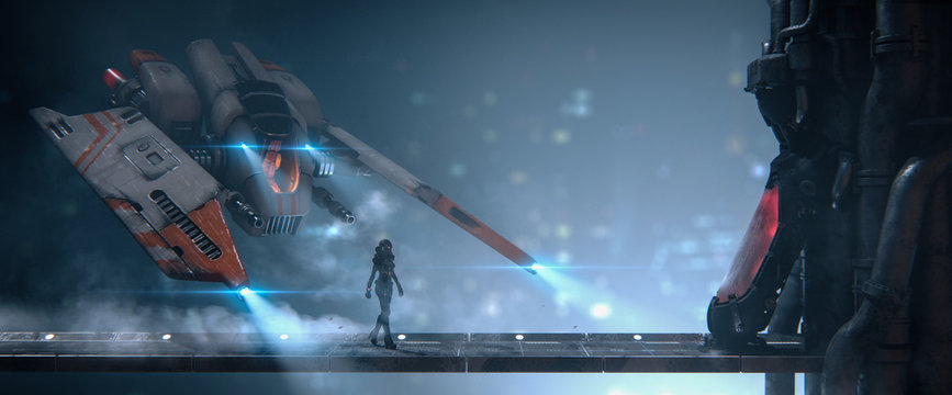 Cyborg girl walks on metal bridge to cryo chamber in empty space with view of the night city. Old scratched metal white orange spaceship hovering in the air. Assault fighter, gunship. 3d illustration.