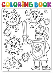 Photo sur Plexiglas Enfants Coloring book doctor fighting virus 2