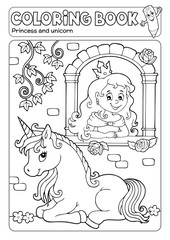Photo sur Aluminium Enfants Coloring book princess and unicorn 1