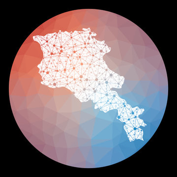 Vector network Armenia map. Map of the country with low poly background. Rounded Armenia illustration in technology, internet, network, telecommunication concept style . Cool vector illustration.