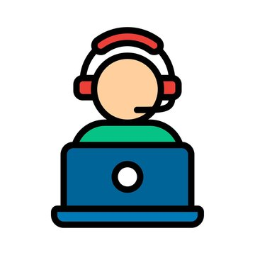 telework or telecommuting related help support boy with headphone and laptop vector with editable stroke,