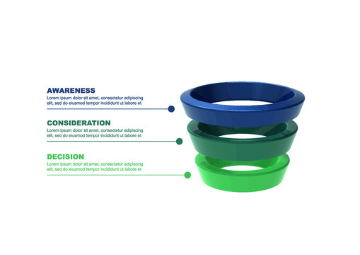 Business Sales Funnel Infographic in 3D. 3 Stage. Lead Generation Process.