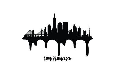 San Francisco USA black skyline silhouette vector illustration on white background with dripping ink effect.