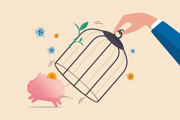 Reopen economy after Coronavirus lockdown, restart business in normal operation after peak of Coronavirus COVID-19 outbreak concept, government hand unlock the cage free piggybank with dollar money.