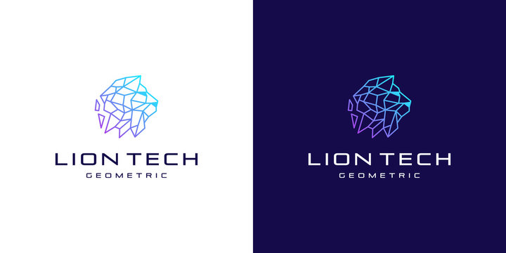 abstract polygon line lion head technology, logo design inspiration