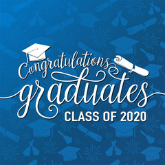 Congratulations graduates 2020 class of vector illustration on seamless grad background, white sign for the graduation party. Typography greeting, invitation card with diplomas, hat, lettering