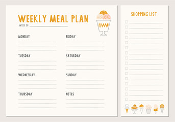 Weekly meal plan. Menu and shopping list template.