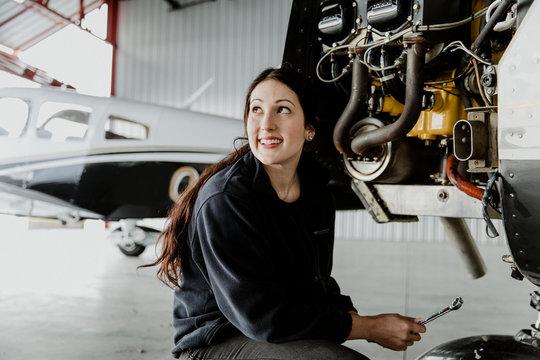 Aviation mechanic working