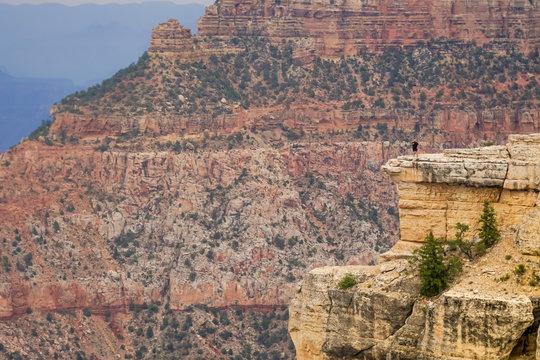 Mensch steht auf einem Felsen an der Kante des Grand Canyon und wirkt winzig gegen die Natur