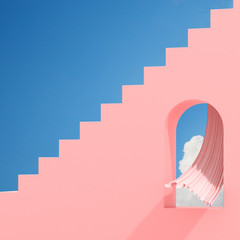 Minimal abstract building with arch window and flow curtain on blue sky background, Architectural design with shade and shadow on pink texture. 3D rendering.