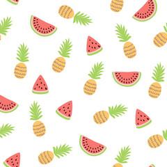 Tropical watermelon pinapple seamless pattern Cute simple summer fruits background Fresh summer print
