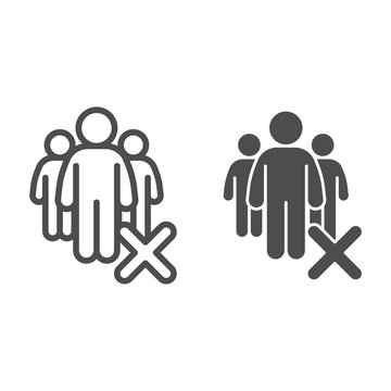 Gatherings ban line and solid icon. Avoid Crowds outline style pictogram on white background. Social Distancing to avoid Covid-19 spread for mobile concept and web design. Vector graphics.