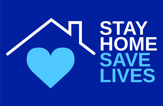 Stay at home slogan with house and heart inside. Protection campaign or measure from coronavirus, COVID--19. Stay home quote text, hash tag or hashtag. Coronavirus, COVID 19 protection logo