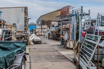 Scrap metal piling up at junk yard