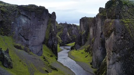 Wall Mural - Flying through the Fjadrargljufur canyon in south east Iceland