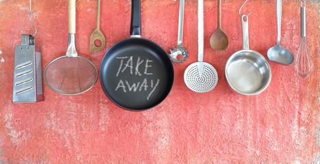 Restaurant Take away food during corona virus lockdown, kitchen utensils and message, concept