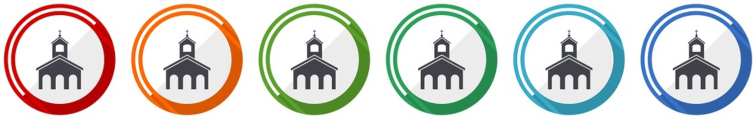 Religion, church icon set, flat design vector illustration in 6 colors options for webdesign and mobile applications Fototapete