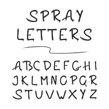 Airbrush letters for design. Grunge paint alphabet. Spray paint lettering. Vector isolated paintbrush stencil font.