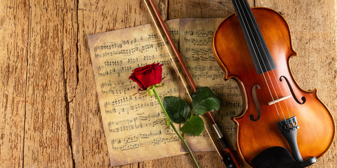 classic retro violin music string instrumt on old music note sheet paper with red rose flower old...