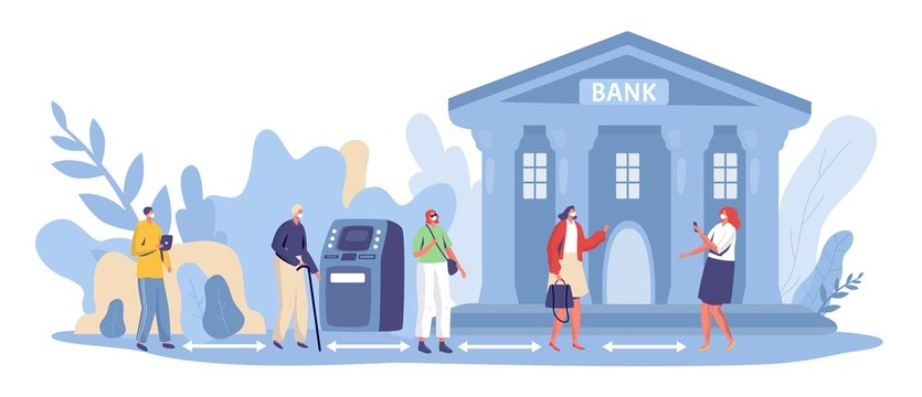 Social distancing at bank, vector illustration. Financial service at coronavirus quarantine. People, man and woman character keep distance in line, pandemic prevention at public place.