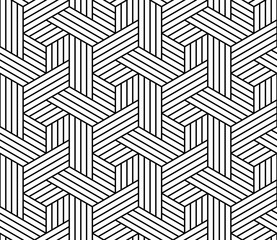 Fotorolgordijn Geometrisch Abstract geometric pattern with stripes, lines. Seamless vector background. White and black ornament. Simple lattice graphic design