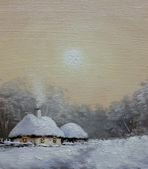 Oil paintings rural landscape, winter in village, hut on the snow. Fine art, artwork.