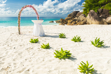 Wedding on the tropical beach in Seychelles