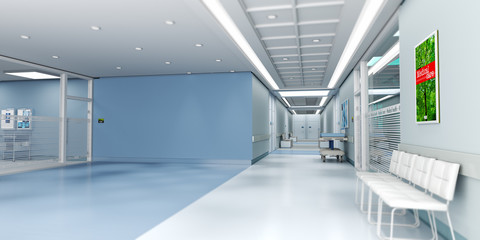 Blue hospital with copy space