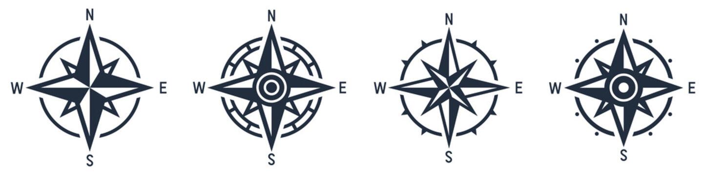 Compass icon set. Wind rose symbol. Vector