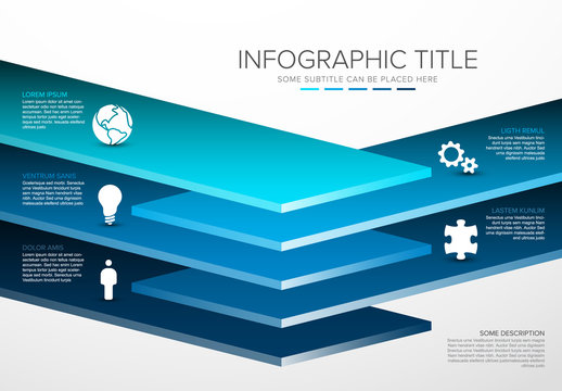 Vector Infographic layers desks template