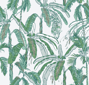 Seamless Pattern Layers of Palms Banana Trees Tropical Jungle in Blue and Green Colors, Oriental Wallpaper Design Banana Leaves, Fruits Rainforest, Vintage Summer Realistic Drawing Paradise on White