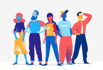 Squadra di personaggi colorati maschili e femminili isolati sullo sfondo bianco  Wall mural