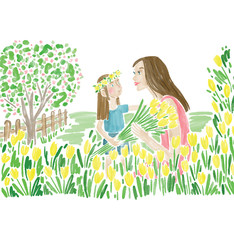 Illustration of mother and daughter in field
