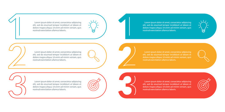 3 steps info graphic with business icons and copy space. Infographics template with outline numbers. Three parts or options for menu and  workflow layout design. Vector illustration.