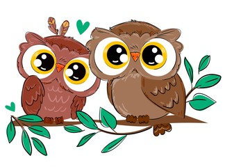 Fotoväggar - A pair of owls sits on a branch with foliage isolated on a white background. Bird vector illustration. Beautiful childish print design elements. Heart