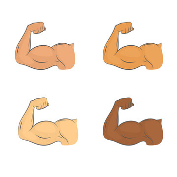 Set of flexed biceps colored icons. A symbol of strrength and masculinity. Bodybuilding and workout concept. Isolated vector illustration.
