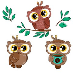 Wall Mural - Set with cute beautiful owls Isolated on a white background. Bird print for children. Vector illustration.
