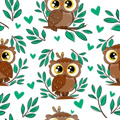 Wall Mural - Cute owl sitting on a branch with foliage pattern background. Seamless bird vector illustration. Beautiful childish print design elements.