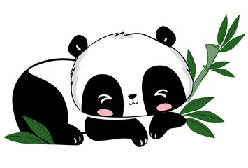 Fotoväggar - Cute panda and bamboo leaves vector illustration. Sketch. Print design for graphics, nursery, t-shirts, poster.