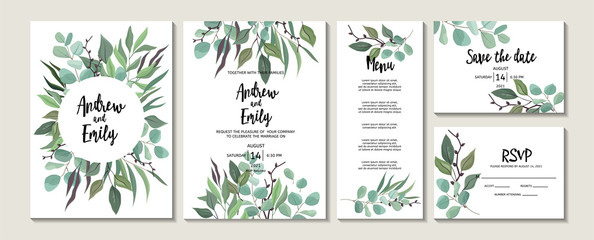 Set of wedding floral invitation, menu, Save the Date, RSVP card template. Green leaves and eucalyptus branches wreath and frame Fototapete