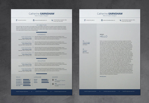 Simple Resume Layout with Blue Accents