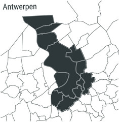 Poster Antwerp Antwerpen (Antwerp), Belgium map — dark grey administrative territory on a light background