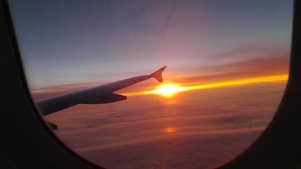 Foto auf AluDibond Lavendel Cropped Image Of Landscape At Sunset From Plane