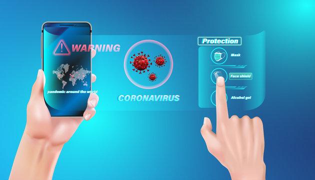 Smart medical application technology alert and warning danger concept. Pandemic flu outbreak coronavirus or covid-19 protection concept. Vector illustration design.