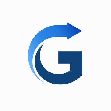 letter g with arrow vector logo