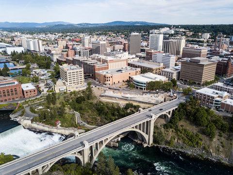 aerial view of spokane washington with bridge