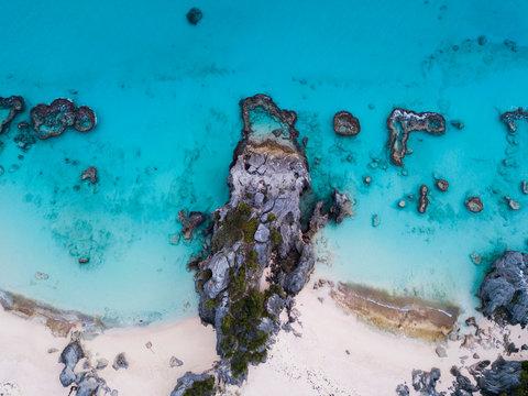 aerial view of ocean rocks in bermuda