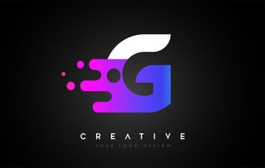Dots Letter G Logo Design. Letter G Icon with Fluid Liquid Idea and Purple Colors Vector